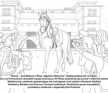 Damar, koń Bohuna, kolorowanka online dla dzieci. Darmowe kolorowanki do druku z końmi