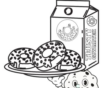 Kolorowanka pączki na T łusty Czwartek, darmowe malowanki do druku dla dzieci