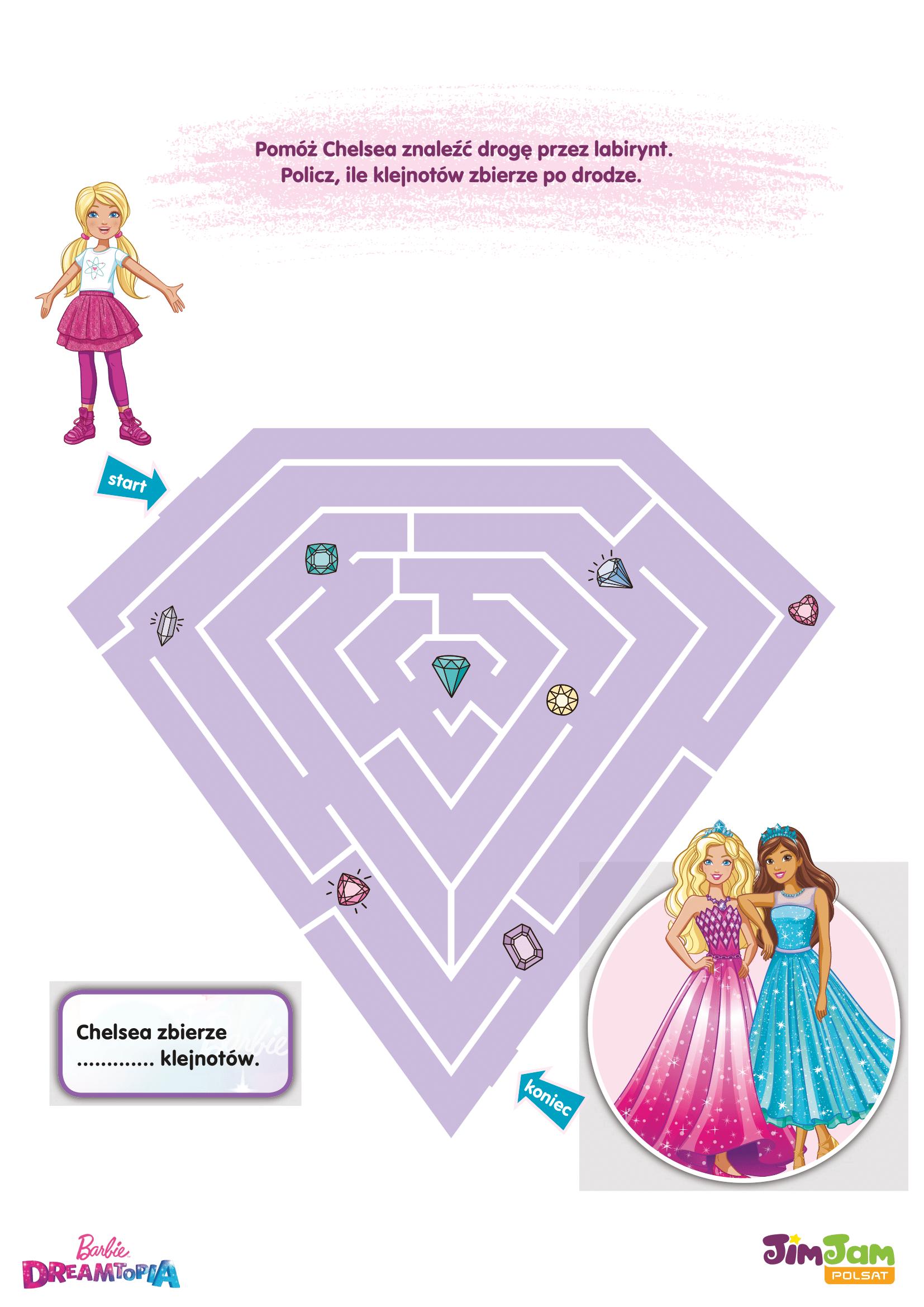 Labirynt Chelsea – Barbie Dreamtopia POLSAT JimJam – karta pracy