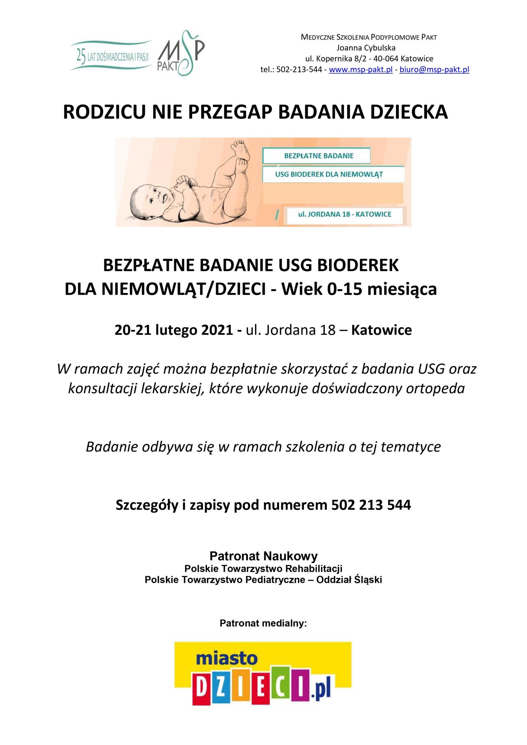 Akcja bezpłatnych badań USG bioderek niemowląt oraz dzieci do 15 miesiąca życia