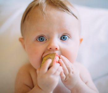 dziecko trzyma klocek drewniany w buzi