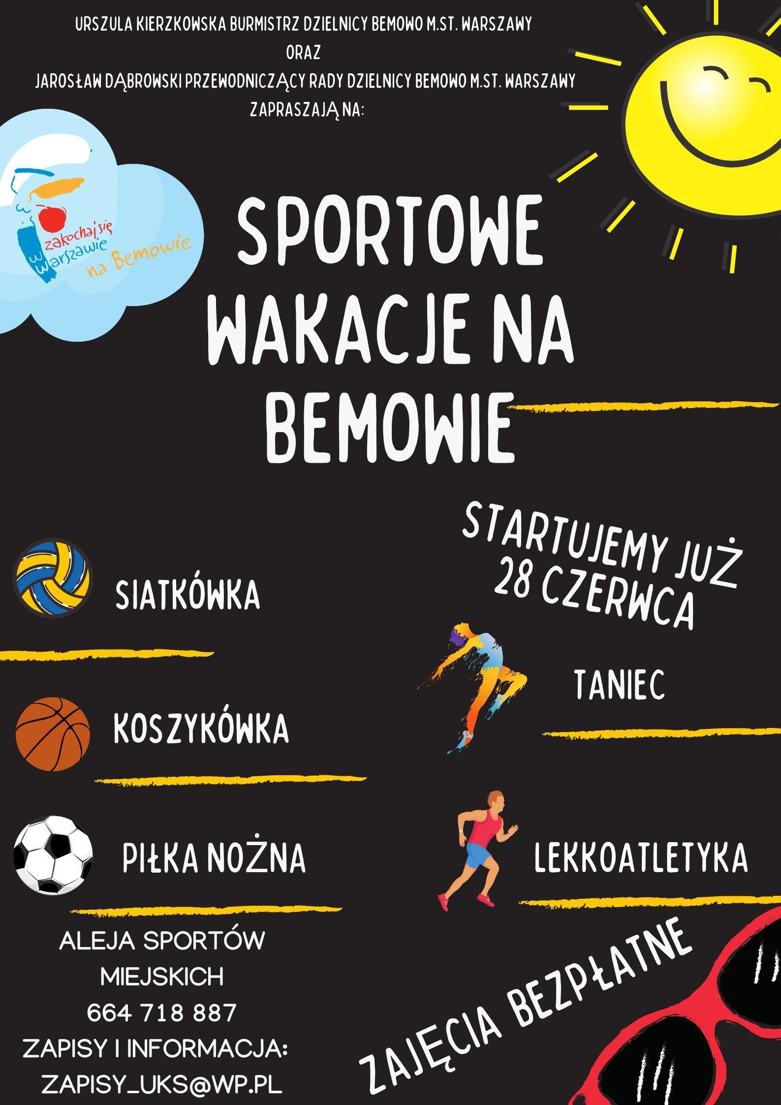 Sportowe wakacje na Bemowie! Bezpłatne zajęcia dla dzieci