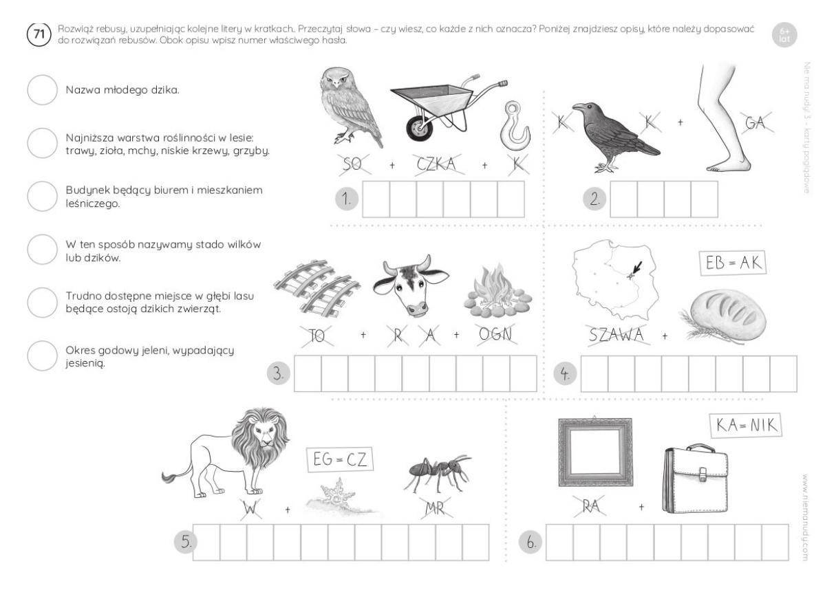Rebus o zwierzętach karta pracy do druku