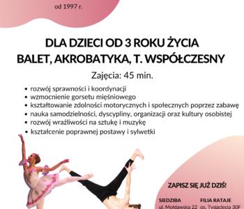 Nabór na rok szkolny 2020/2021: Balet i akrobatyka dla dzieci