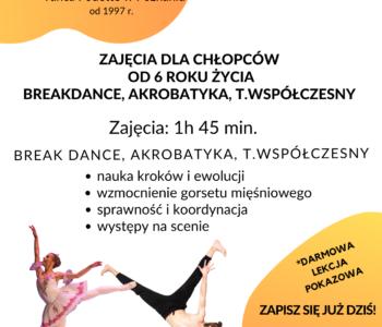 Zajęcia dla chłopców – breakdance, hip-hop, taniec współczesny