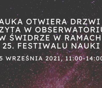 Festiwal Nauki w Obserwatorium Geofizycznym w Świdrze