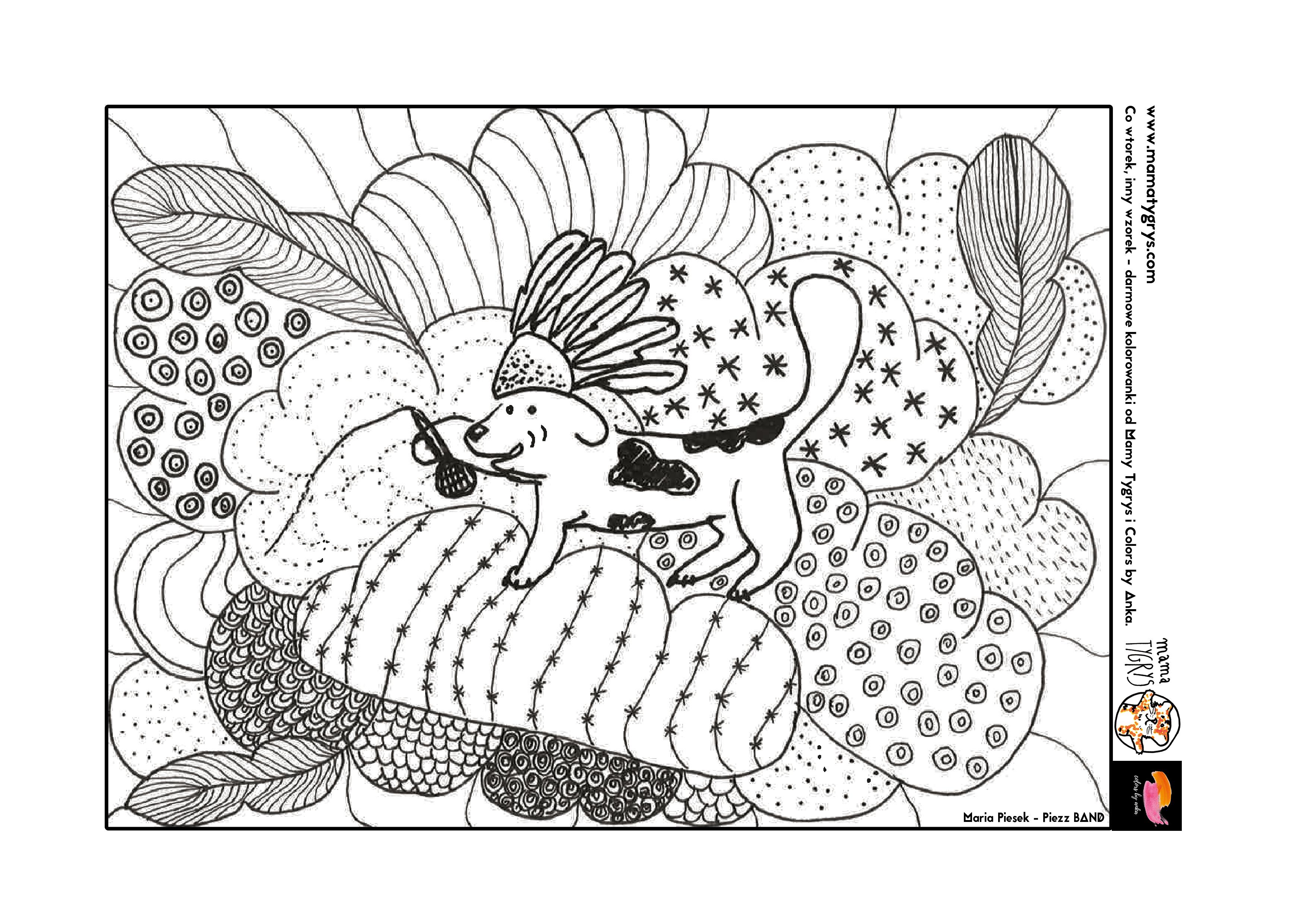 Kolorowanka Piesek Indianin, malowanki do druku