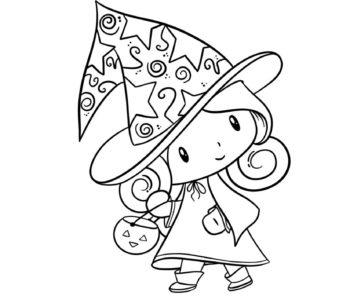 Halloween kolorowanka z małą czarownicą kostium do kolorowania
