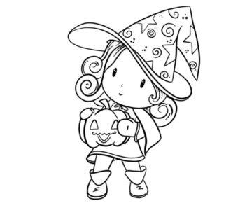 Kolorowanka Mała czarownica z dynią, kolorowanki na Halloween do druku dla dzieci