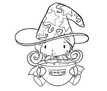 Darmowa kolorowanka na Halloween czarownica