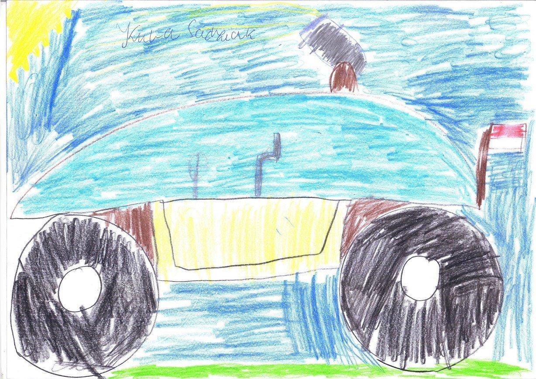 Mega wyścigowy samochód strzelająca tęczą.