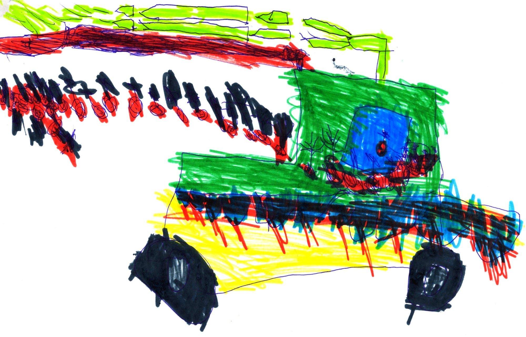 Samochód latający- rzucający bombami i strzelający strzałami